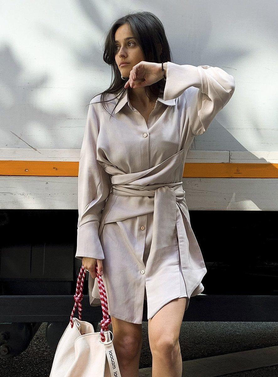 shelter dress beige