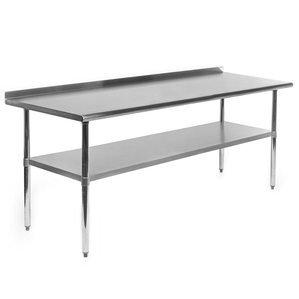 Gridmann NSF Stainless Steel Commercial Kitchen Prep & Work Table w/ Backsplash - 72 in. x 24 in.