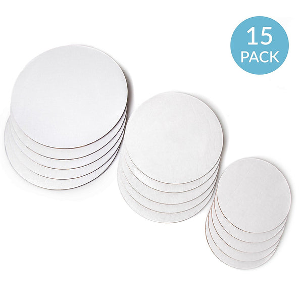 Cake Boards - Set of 15 White Cake circle bases - 6 inches, 8 inches, and 10 inches, 5 of each by Upper Midland Products