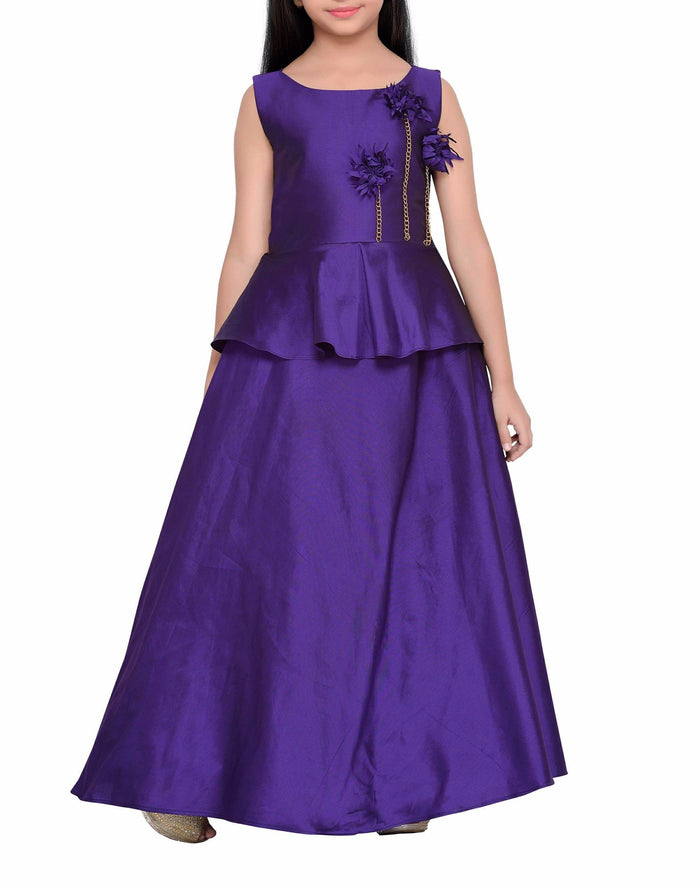 K&U Girls' Wine Purple Gown Gowns K&U