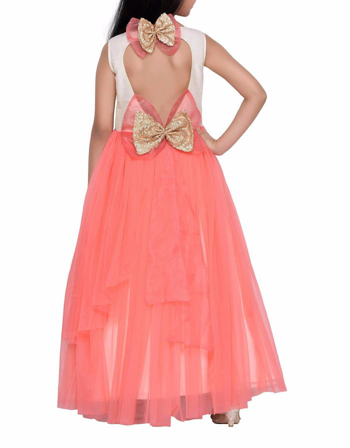 K&U Girls' Peach Net Gown Gowns K&U