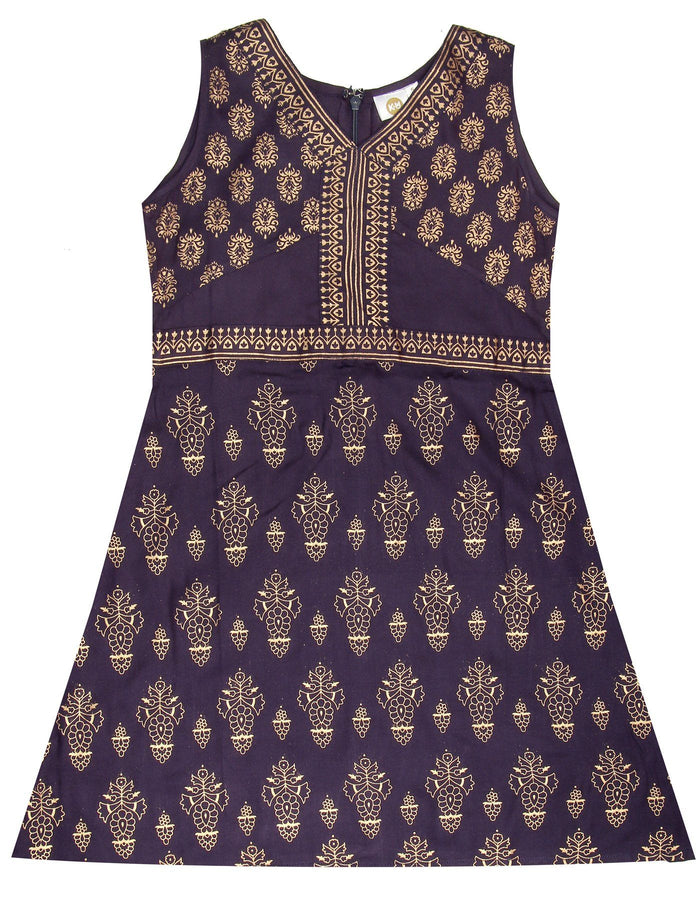 [product_code],K&U Girls' Navy Blue Block Printed Rayon Kurti ,Kurti - Sitaarey