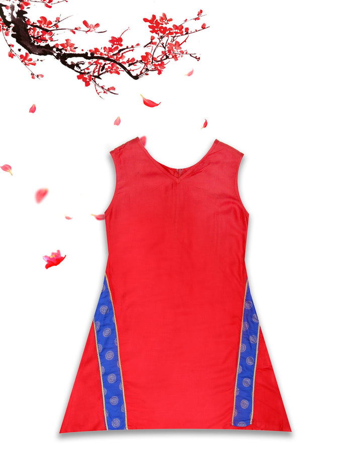 [product_code],K&U Girls' Red & Blue Block Printed Rayon Kurti ,Kurti - Sitaarey
