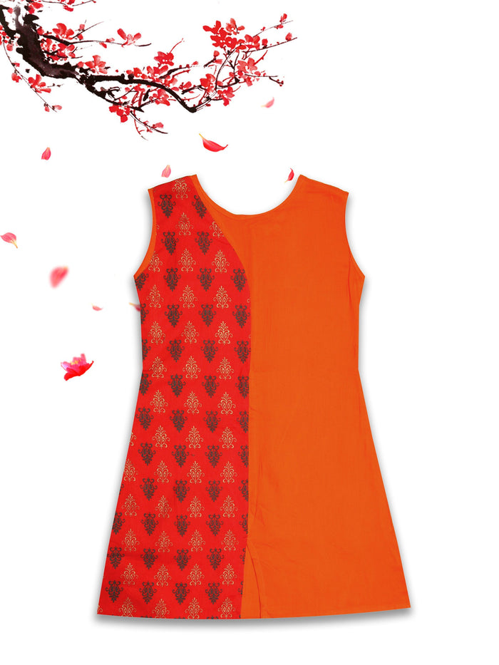 [product_code],K&U Girls' Orange & Red Block Printed Rayon Kurti ,Kurti - Sitaarey