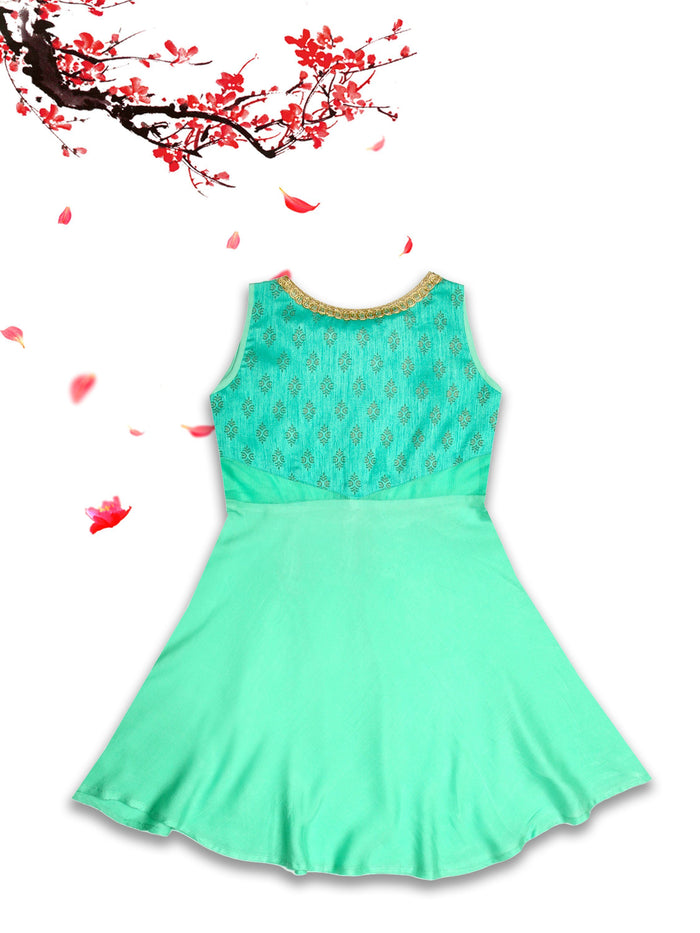 [product_code],K&U Girls' Sea Green Block Printed Rayon Kurti ,Kurti - Sitaarey