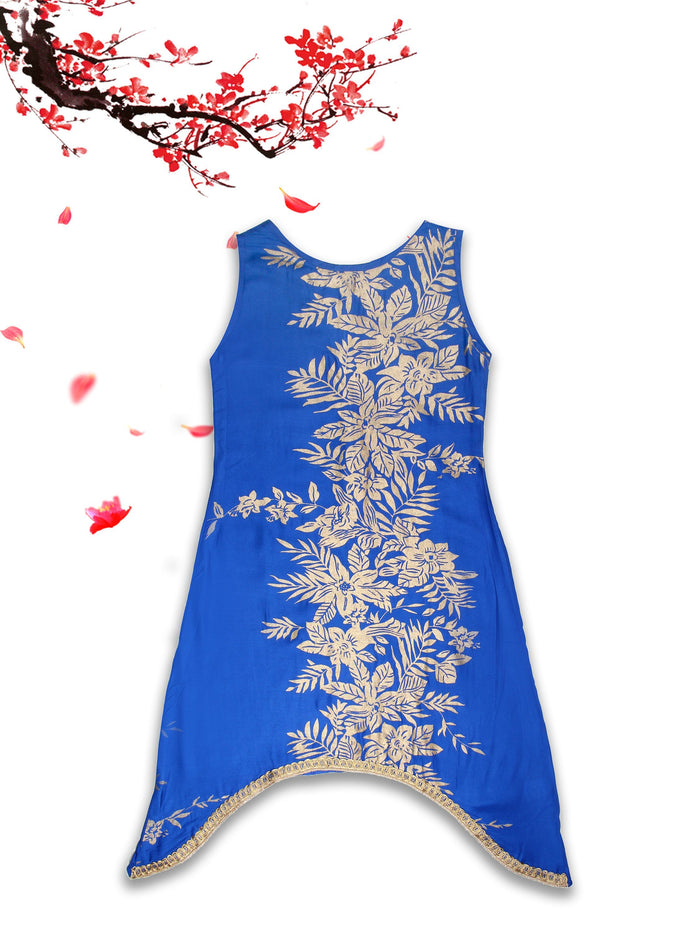 [product_code],K&U Girls' Royal Blue Asymmetrical Block Printed Rayon Kurti ,Kurti - Sitaarey