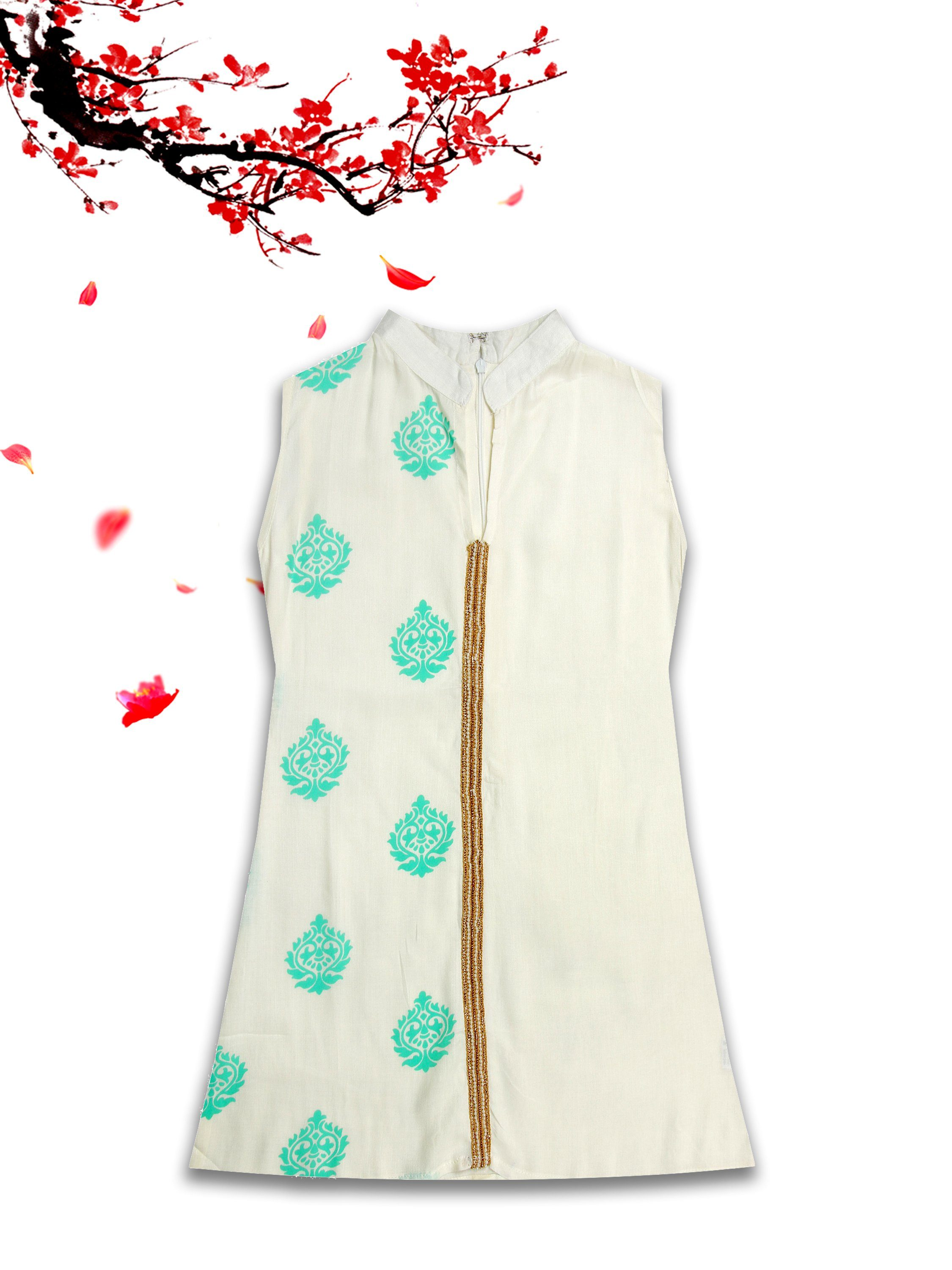 [product_code],K&U Girls' Sea Green & White Block Printed Rayon Kurti ,Kurti - Sitaarey