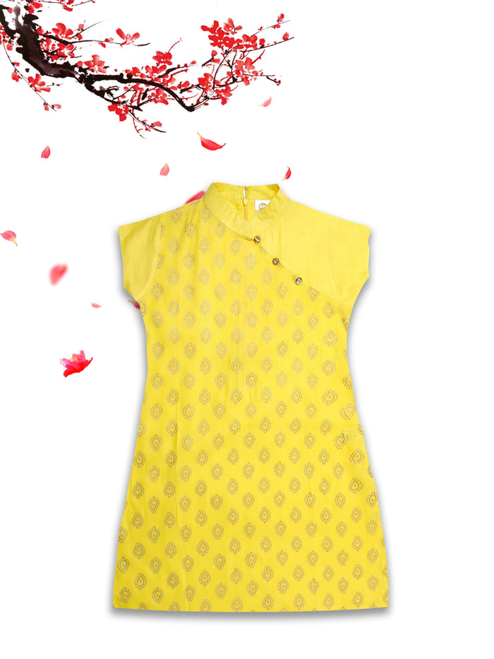 [product_code],K&U Girls' Yellow Block Printed Rayon Kurti ,Kurti - Sitaarey