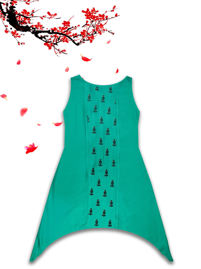 [product_code],K&U Girls' Green Asymmetrical Block Printed Rayon Kurti ,Kurti - Sitaarey