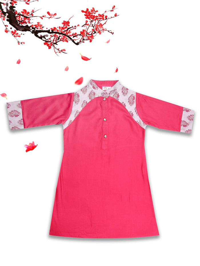 [product_code],K&U Girls' Red & Beige Block Printed Rayon Kurti ,Kurti - Sitaarey