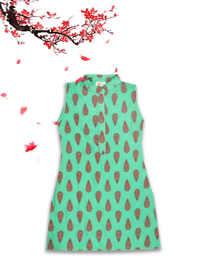 [product_code],K&U Girls' Sea Green Printed Block Printed Rayon Kurti ,Kurti - Sitaarey