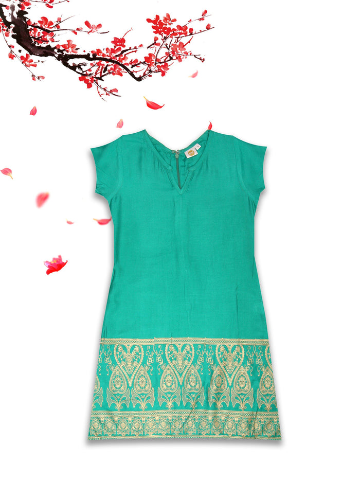 [product_code],K&U Girls' Green Buttoned Block Printed Rayon Kurti ,Kurti - Sitaarey