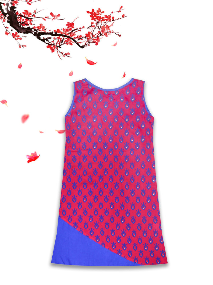 [product_code],K&U Girls' Red Printed Block Printed Rayon Kurti ,Kurti - Sitaarey