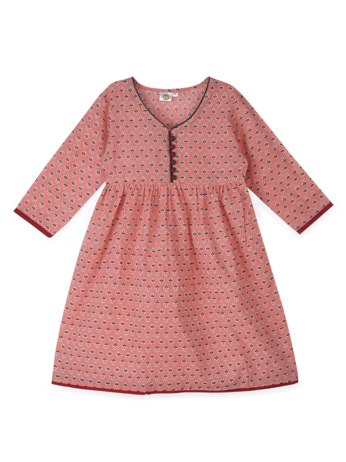 K&U Girls' Peach and Red Cotton Kurti in Jaipuri Print Kurti K&U