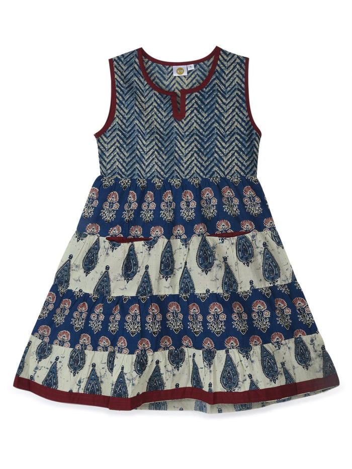 K&U Girls' Blue and Beige Cotton Kurti in Jaipuri Print Kurti K&U