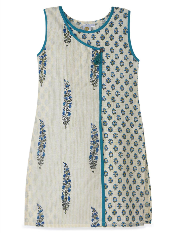 K&U Girls' Offwhite and Blue Cotton Kurti in Jaipuri Print Kurti K&U