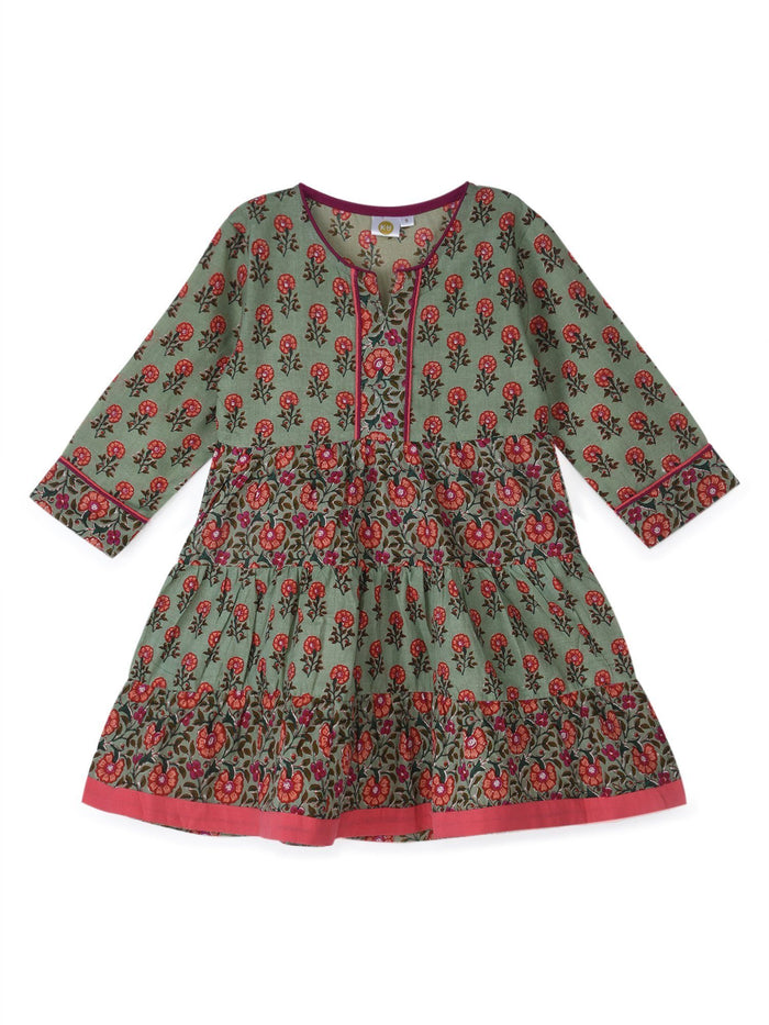 K&U Girls' Sage Green and Rani Pink Cotton Kurti in Jaipuri Print Kurti K&U