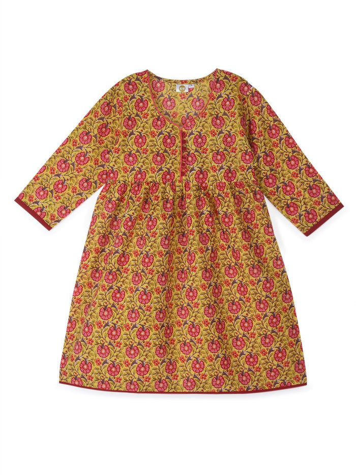 K&U Girls' Mustard Yellow and Pink Cotton Kurti in Jaipuri Print Kurti K&U