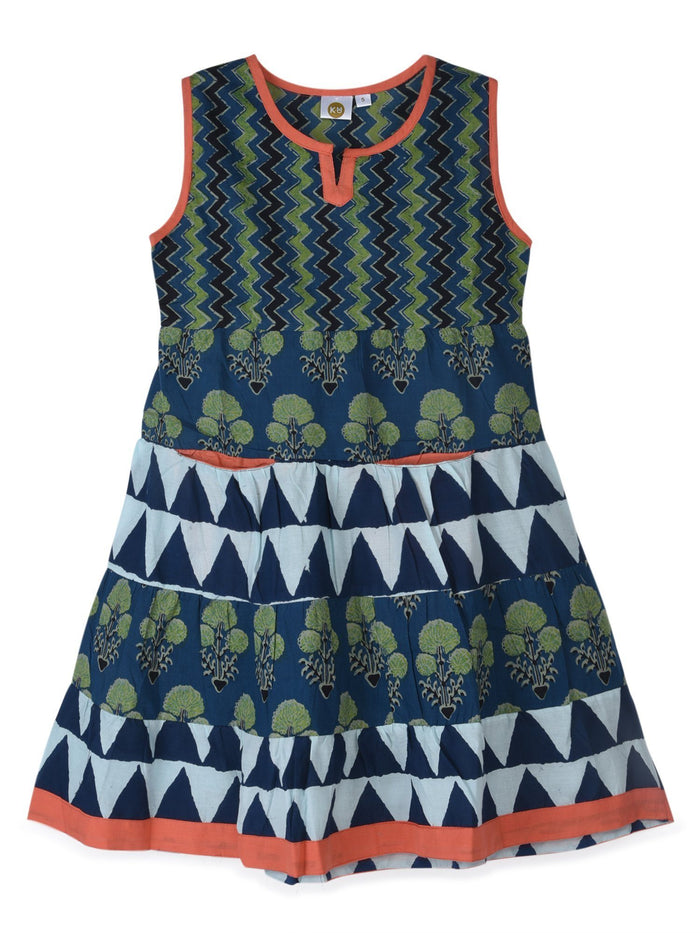 K&U Girls' Blue and Green Cotton Kurti in Jaipuri Print Kurti K&U