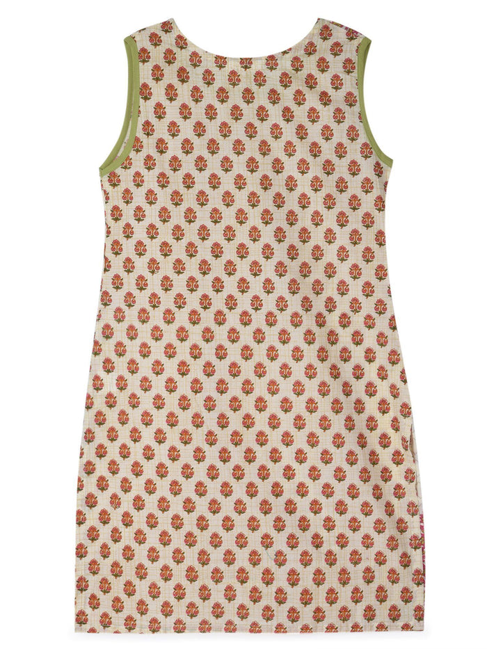 K&U Girls' Offwhite and Rani Pink Cotton Kurti in Jaipuri Print Kurti K&U