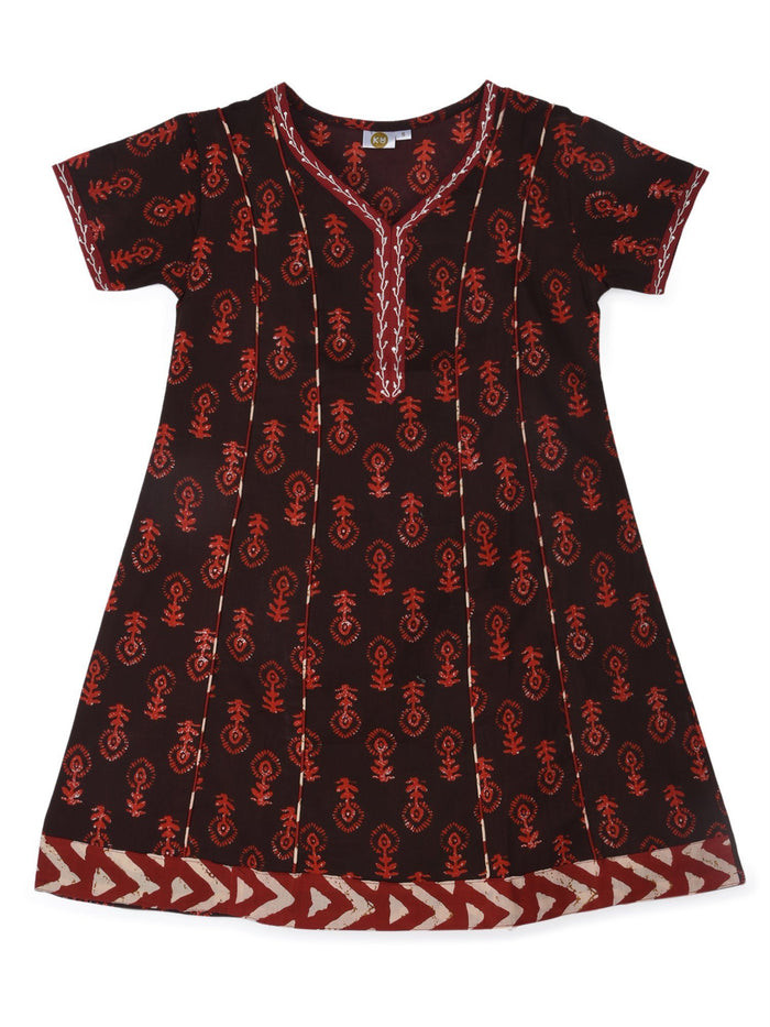 K&U Girls' Black and Red Cotton Kurti in Jaipuri Print Kurti K&U