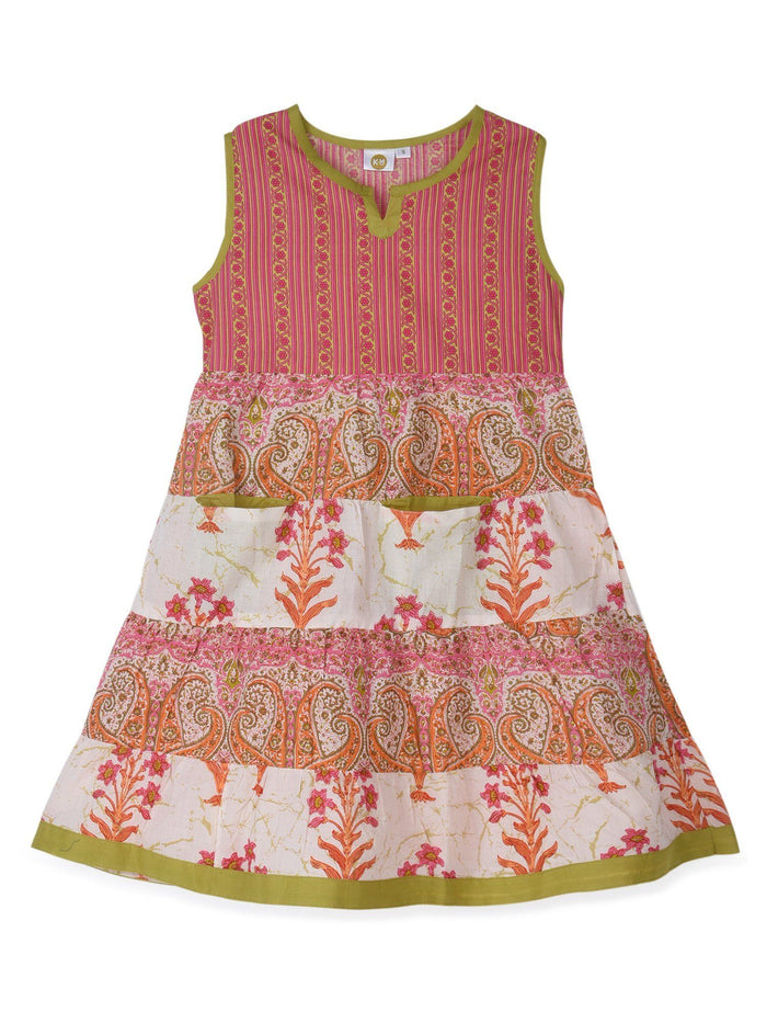 K&U Girls' Pink and Green Cotton Kurti in Jaipuri Print Kurti K&U