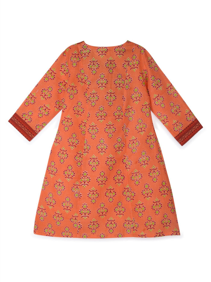 K&U Girls' Peach and Maroon Cotton Kurti in Jaipuri Print Kurti K&U