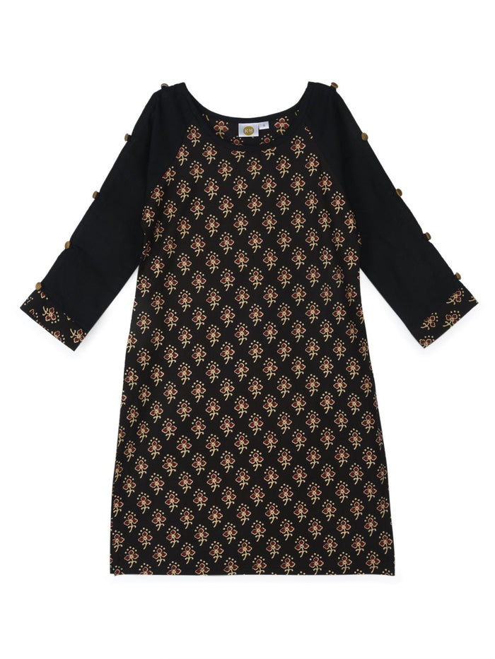 K&U Girls' Black and Beige Cotton Kurti in Jaipuri Print Kurti K&U