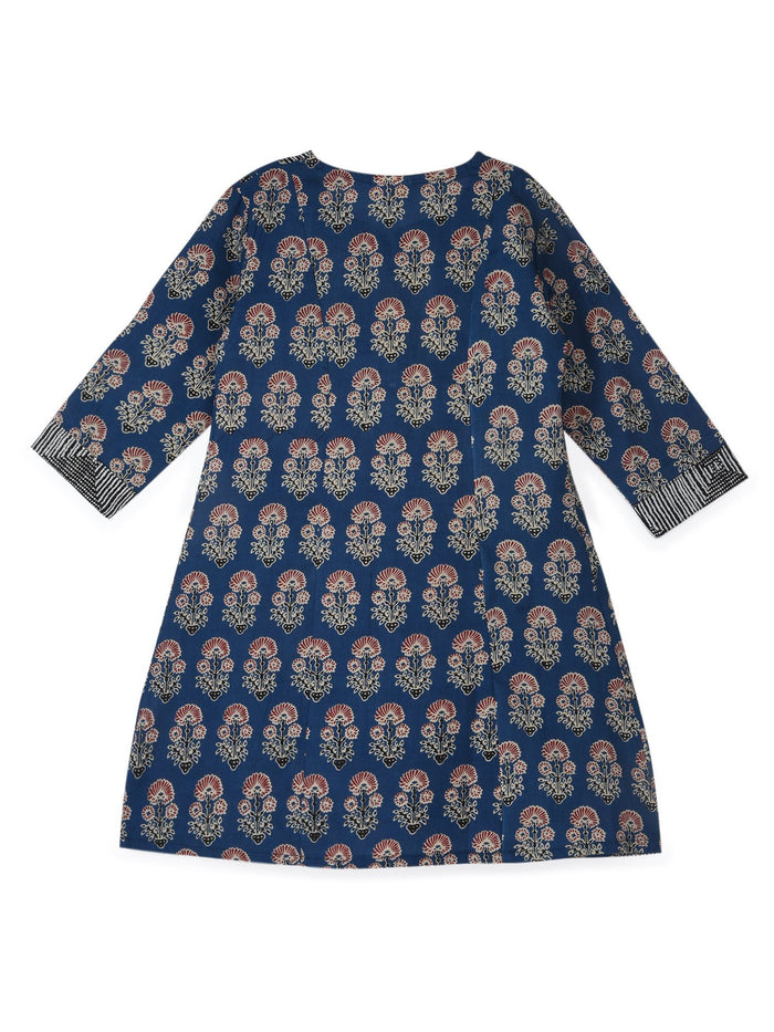 K&U Girls' Blue Cotton Kurti in Jaipuri Print Kurti K&U