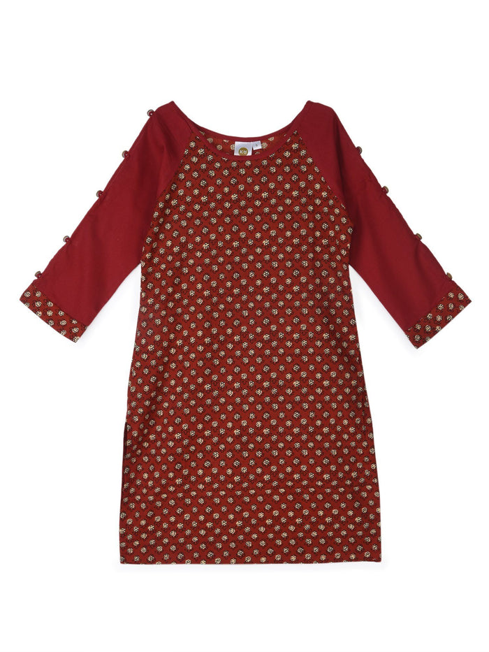 K&U Girls' Red Cotton Kurti in Jaipuri Print Kurti K&U