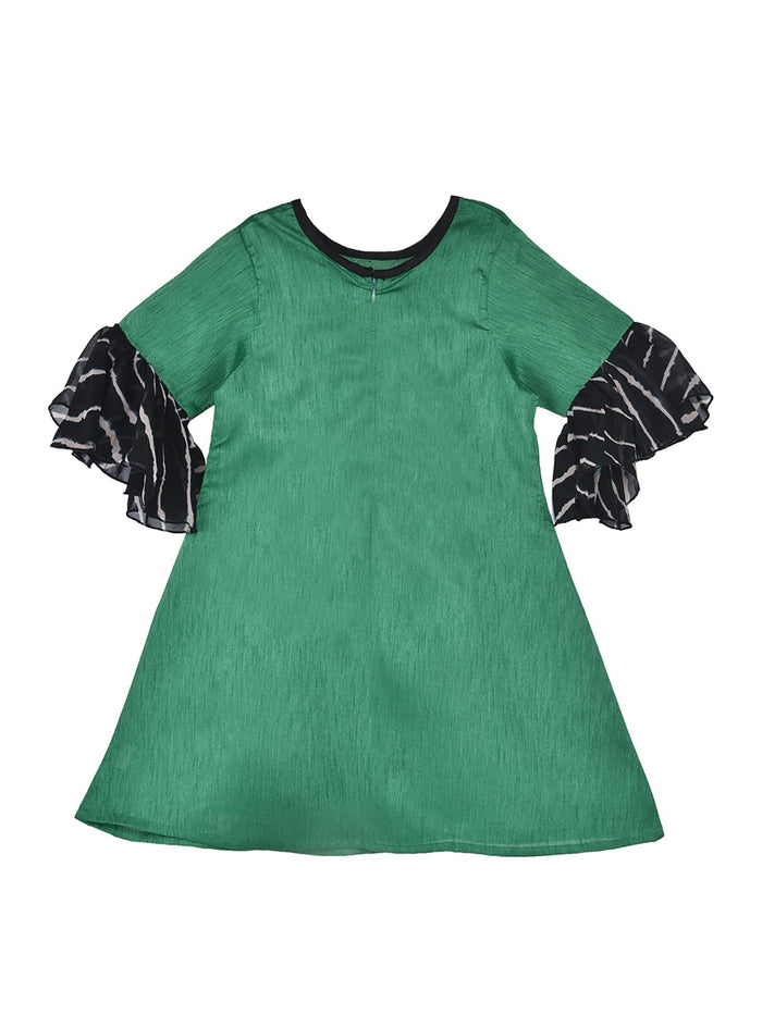K&U Girls' Dupion Silk Bell Sleeved Green Kurti Kurti K&U