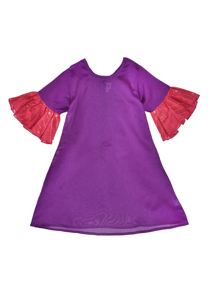 K&U Girls' Dupion Silk Bell Sleeved Purple Kurti Kurti K&U