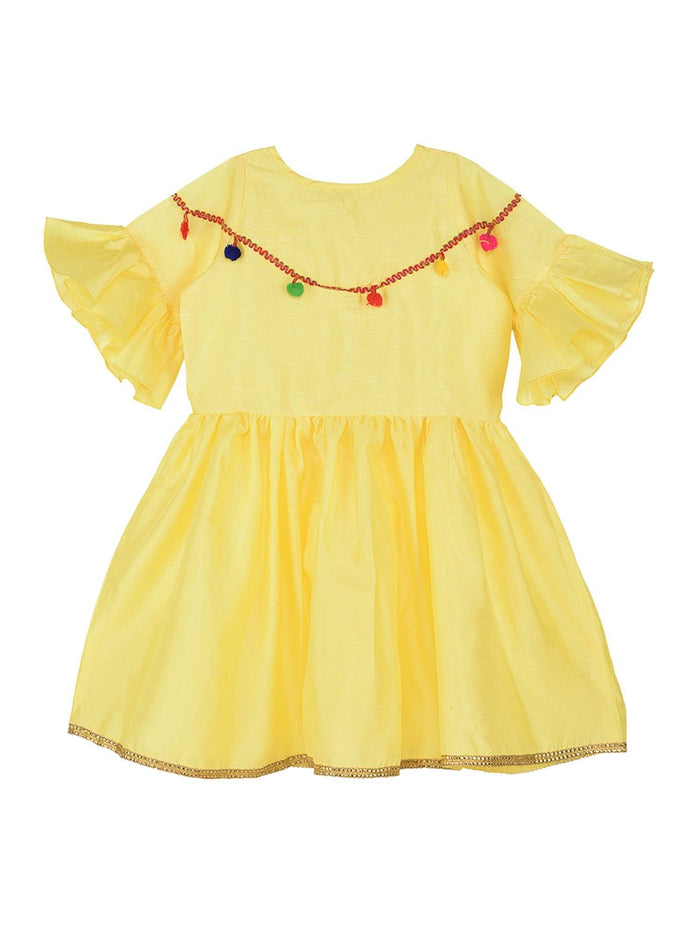 K&U Girls' Dupion Silk Fit-Flare Bell Sleeved Yellow Kurti Kurti K&U