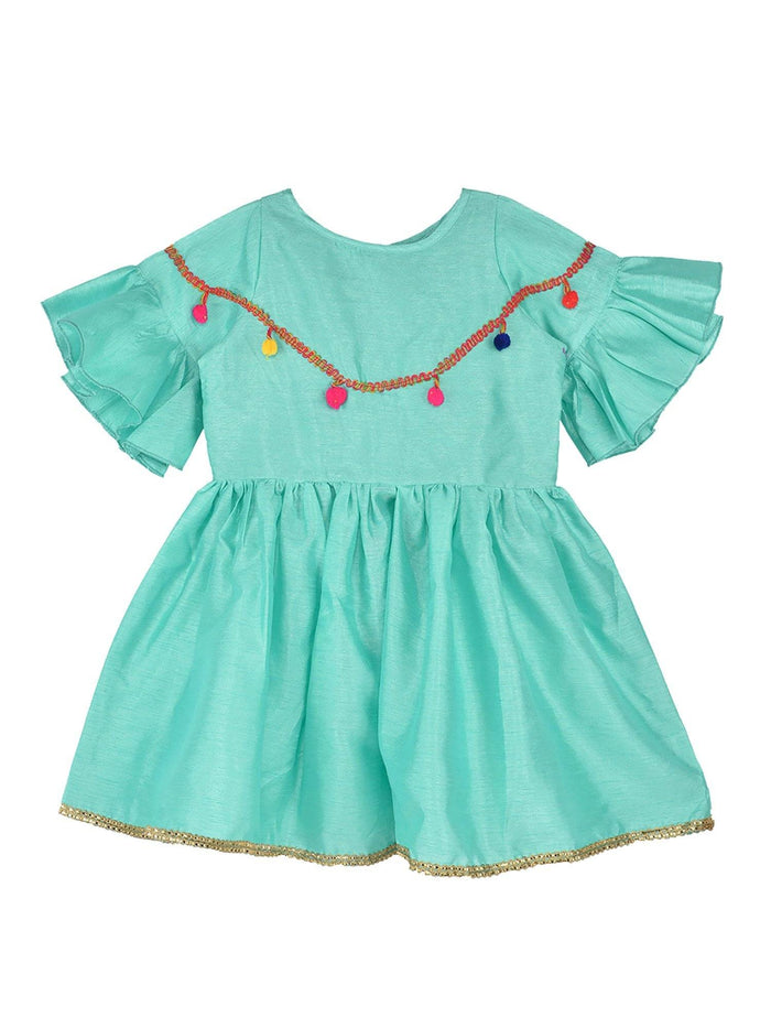 K&U Girls' Dupion Silk Fit-Flare Bell Sleeved Sea Green Kurti Kurti K&U
