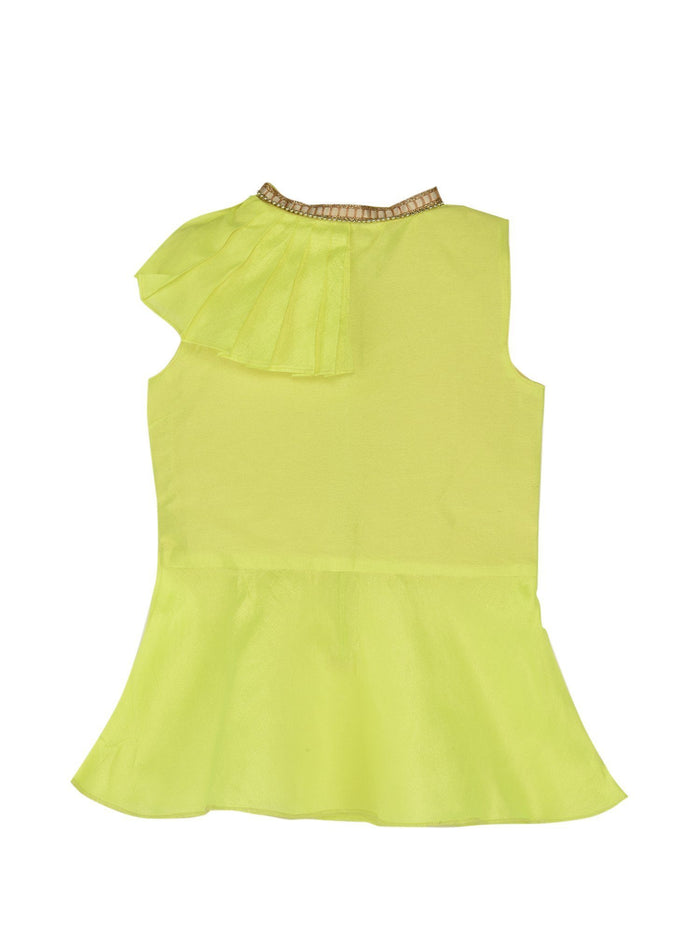 K&U Girls' Dupion Silk Closed Neck Frilled Neon Green Kurti Kurti K&U