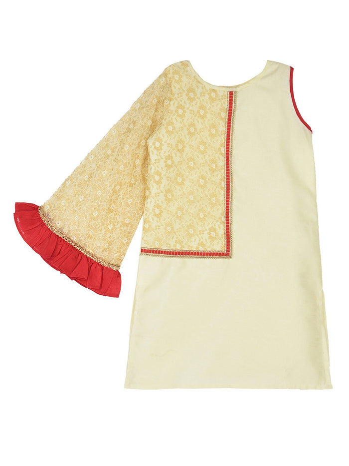 K&U Girls' Dupion Silk Lace Net Flared Sleeve Offwhite & Gold Kurti Kurti K&U