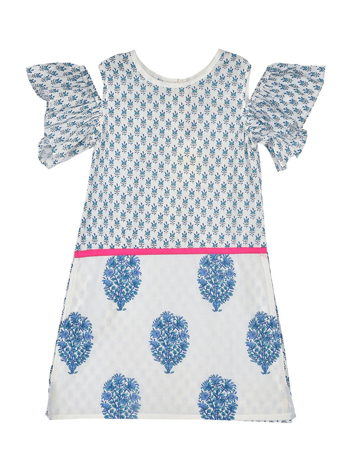 K&U Girls' Cotton Jaipuri Print Drop Shoulder Offwhite & Blue Kurti Kurti K&U