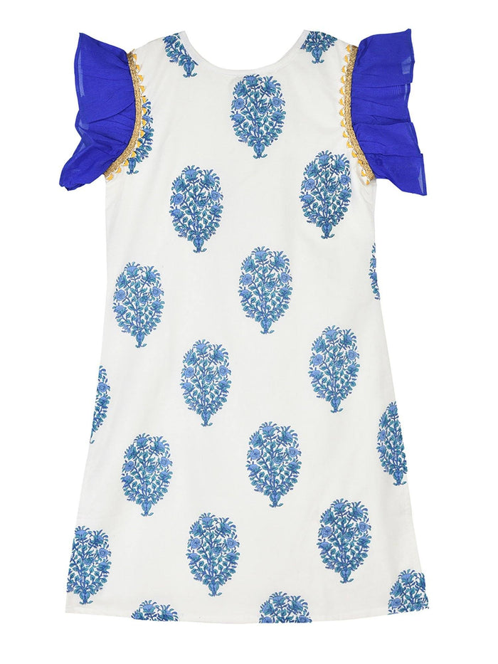 K&U Girls' Cotton Frill Sleeved Jaipuri Print Offwhite & Royal Blue Kurti Kurti K&U