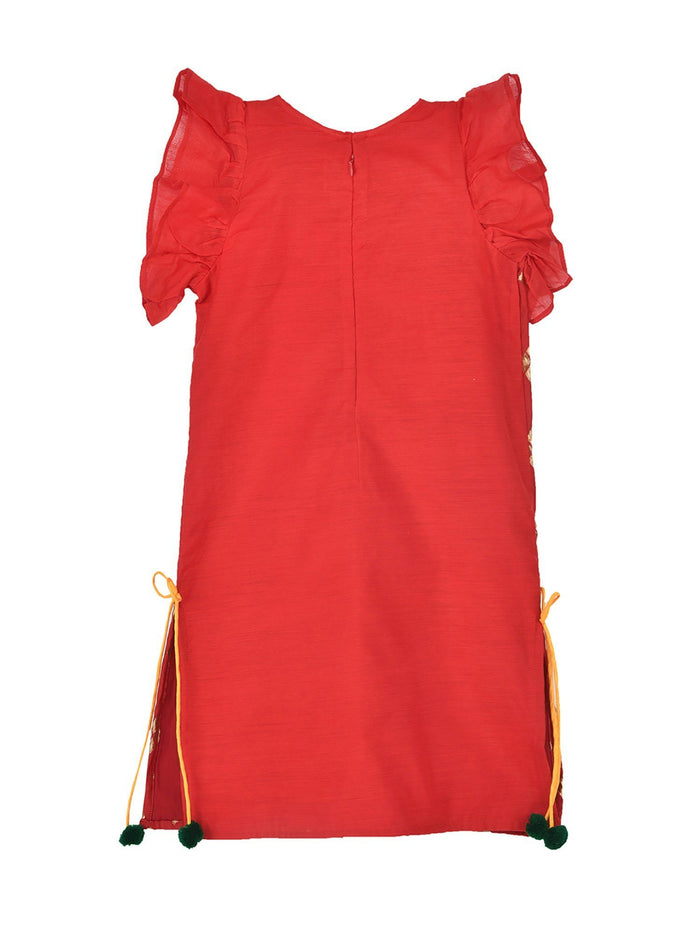 K&U Girls' Dupion Silk Brocade Frill Sleeved Red Kurti Kurti K&U