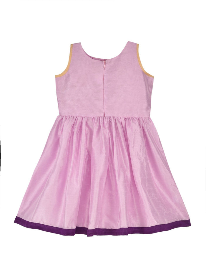 K&U Girls' Dupion Silk Fit-Flare Printed Lilac and Pink Floral Kurti Kurti K&U