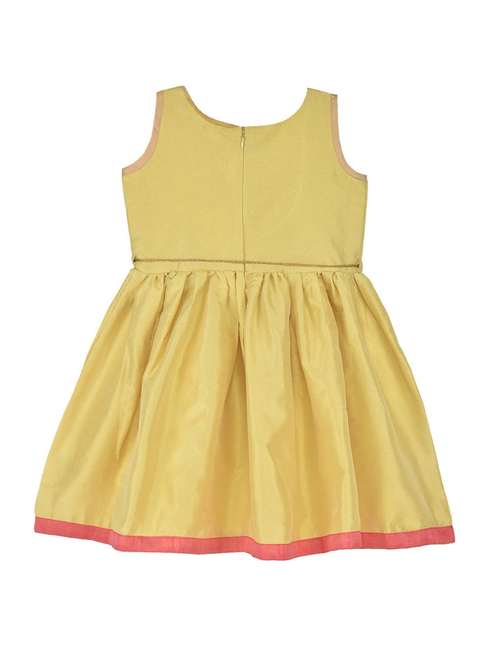 K&U Girls' Dupion Silk Fit-Flare Yellow and Peach Kurti Kurti K&U