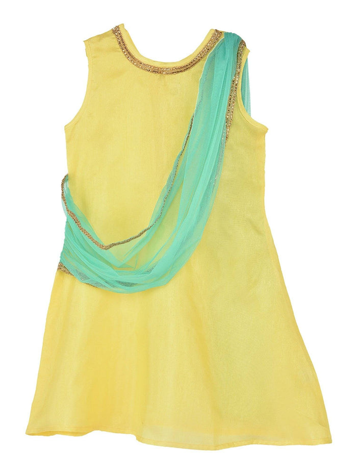 K&U Girls' Dupion Silk Yellow and Seagreen Drape Style Kurti Kurti K&U