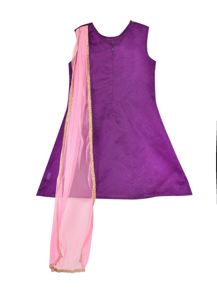 K&U Girls' Dupion Silk Purple and Baby Pink Drape Style Kurti Kurti K&U