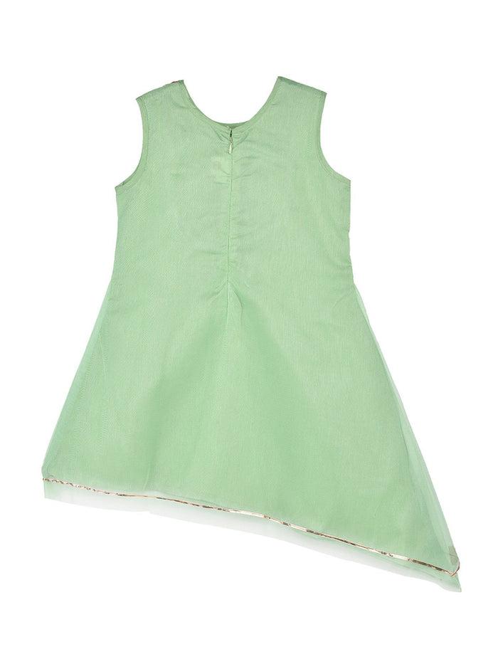 K&U Girls' Dupion Silk Green and Pink Asymmetrical Kurti Kurti K&U