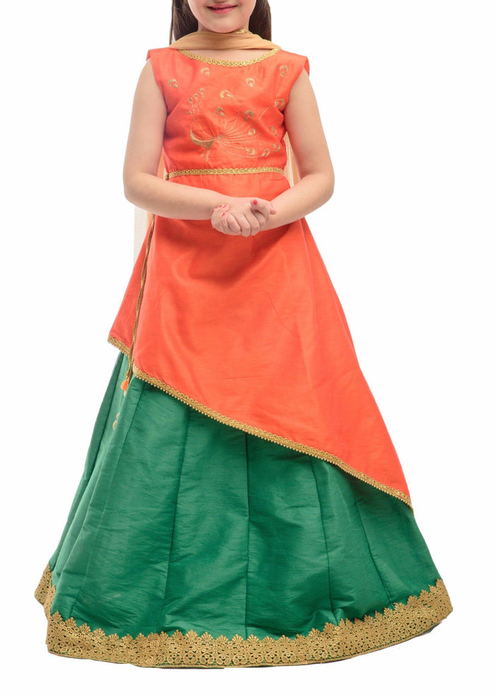 K&U Girls' Orange & Green Raw Silk Asymmetric Lehenga Choli Lehenga Choli K&U