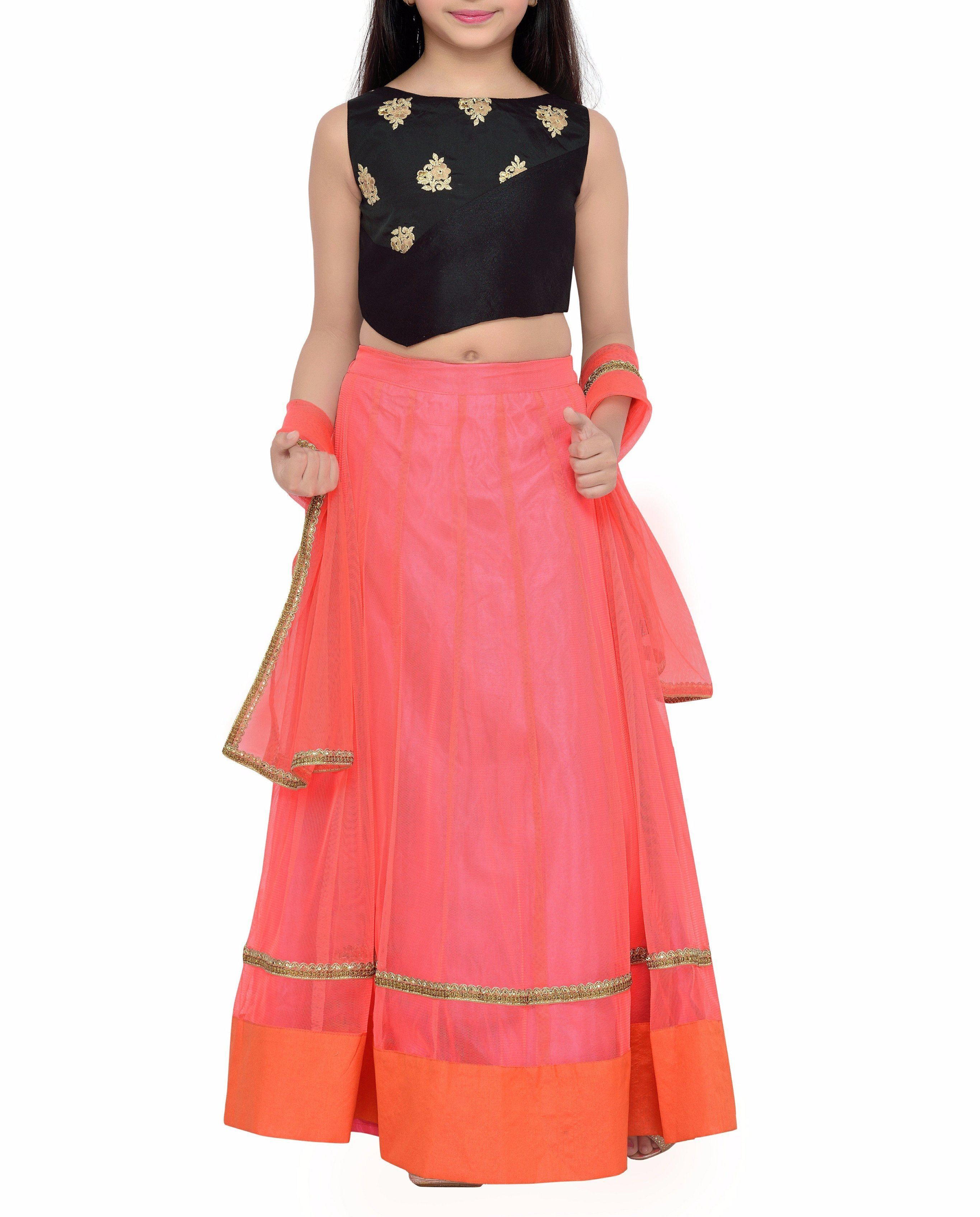 K&U Girls' Black & Orange Net Taffeta Lehenga Choli Lehenga Choli K&U