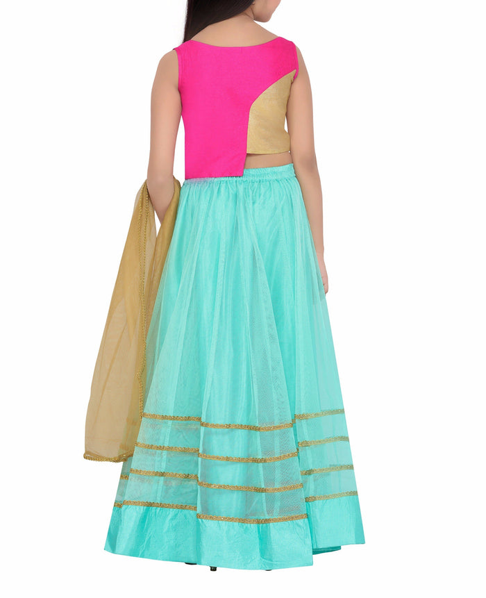 K&U Girls' Pink & Sea Green Silk Net Lehenga Choli Lehenga Choli K&U