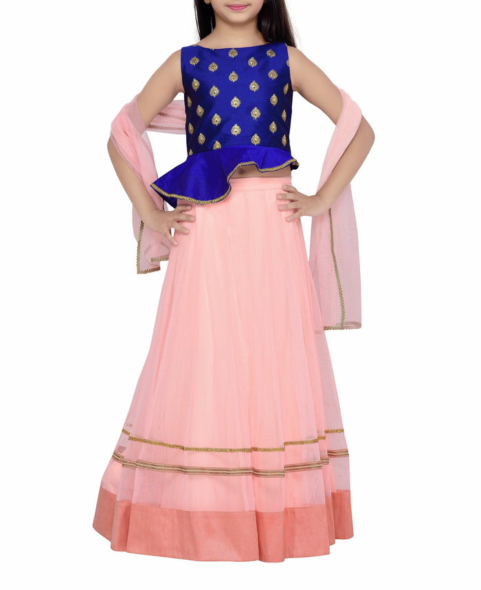 K&U Girls' Blue & Peach Taffeta Net Peplum Lehenga Choli Lehenga Choli K&U