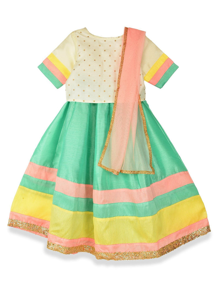 K&U Girls' Offwhite and Seagreen Lehenga Choli Lehenga Choli Sitaarey