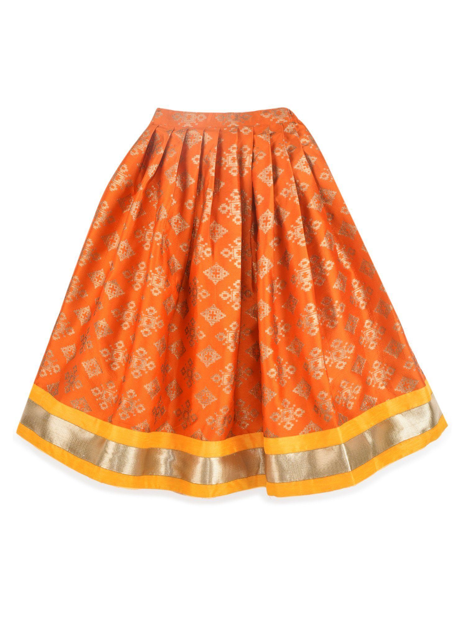 K&U Girls' Yellow and Orange Lehenga Choli Lehenga Choli Sitaarey
